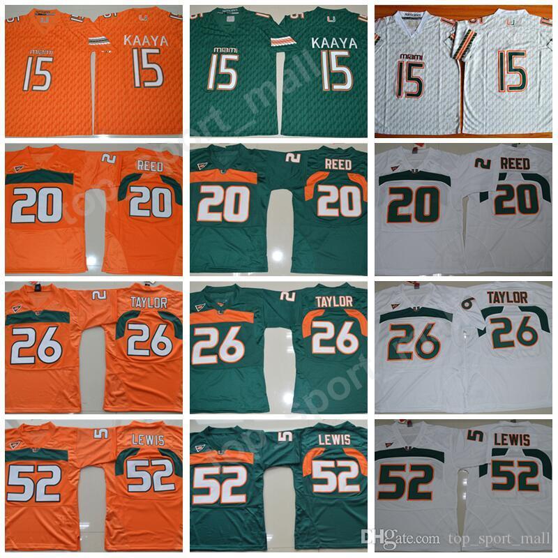 Мужские футбольные колледжи Майами Ураганы Трикотажные изделия 15 Брэд Каая 20 Эд Рид 52 Рэй Льюис 26 Шон Тейлор Зеленый Оранжевый Белый Высочайшее качество