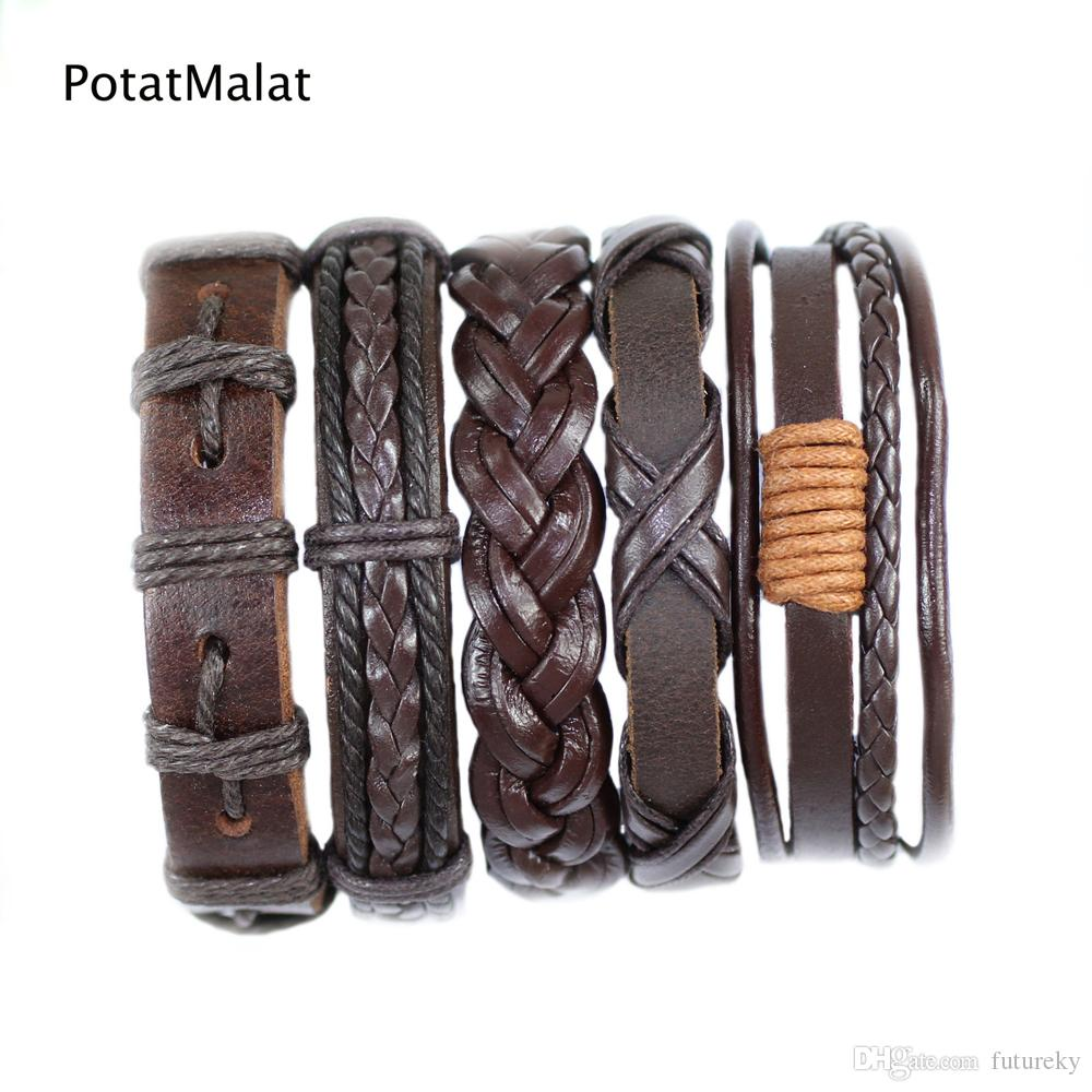 FL29- Brown pulseras cuero bracelets bangles (5pcs/lot) charms ethnichandmade genuine braided wrap rope hemp mens leather bracelet for gift