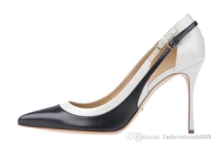 2018 Novas mulheres preto de salto alto sapatos de festa de salto fino fivela cinta bombas ponto toe vestido sapatos mix cor bombas sexy de salto alto
