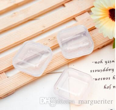 Transparent Plastic Small Storage Box Mini Clear Square Box Jewelry Box Earplugs Storage Case Beads Makeup Container