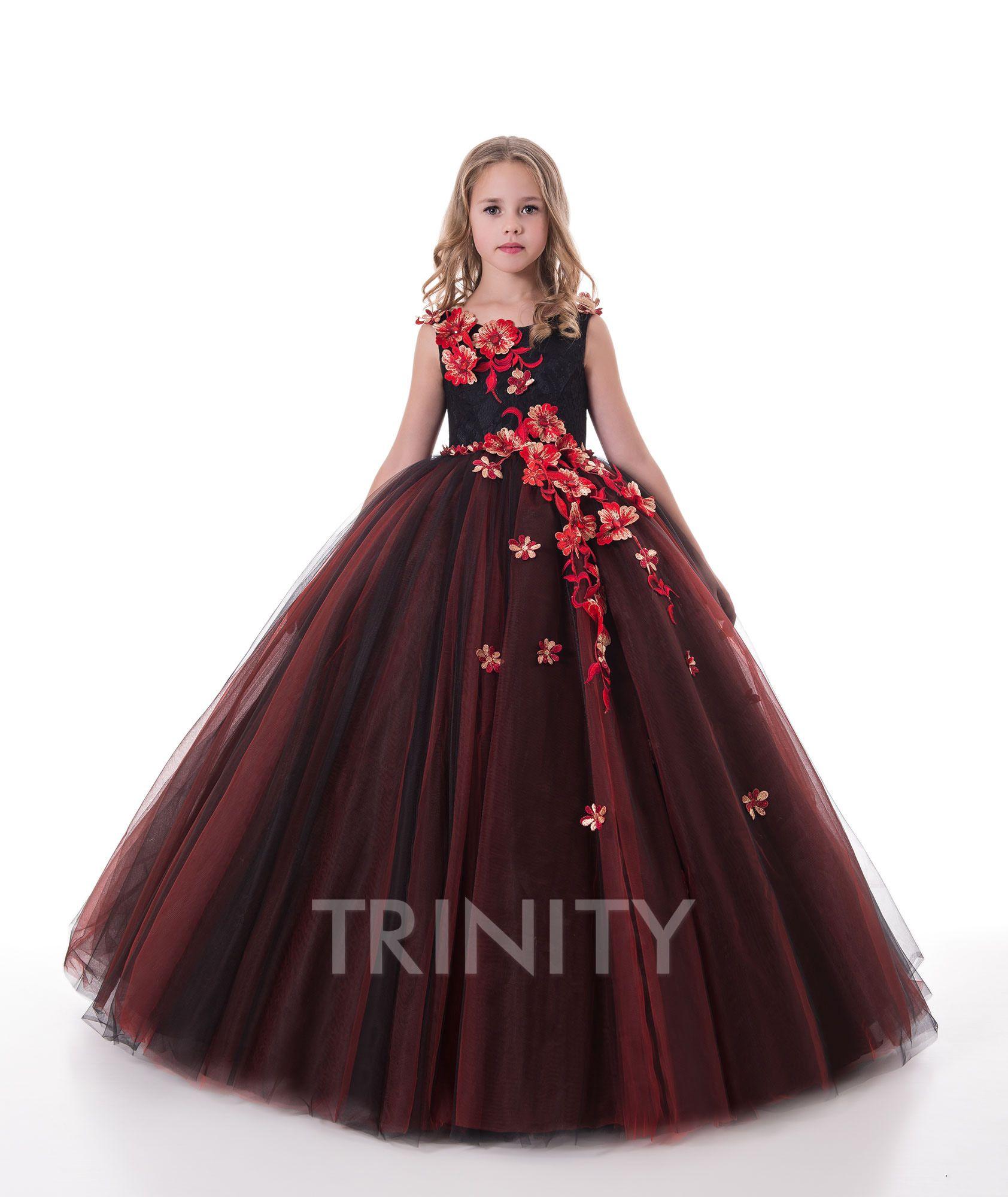 Двухтона ржавый красный / черный из тюль аппликация цветок девушка платья девочек Pageant платья праздников / платье на день рождения / юбка на заказ размер 2-14 df711361
