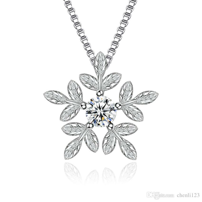 Di lusso del diamante della CZ di cristallo del fiocco di neve dei pendenti regalo per le donne di moda gioielli e accessori in oro bianco placcato