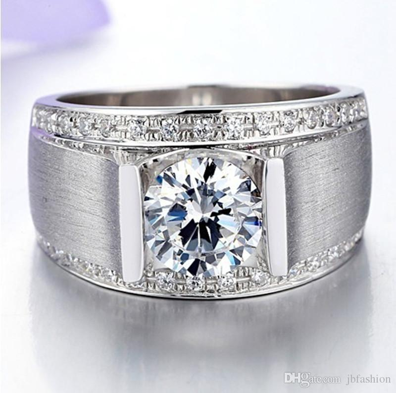 1CT Simulated Gemstone Wedding Band Ring 925 Sterling Silver Round Cut Synthetic Diamond Finger Ring for Man White Gold Plated Male Jewelry