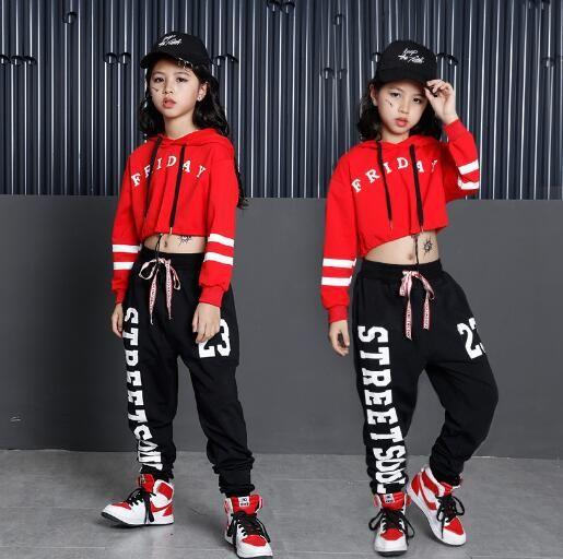 Crianças Hip Hop Trajes de Dança Meninas Terno de Manga Longa Esportes Crianças Jazz Hip hop Roupas de Dança Desgaste para Menina 6 8 10 12 anos