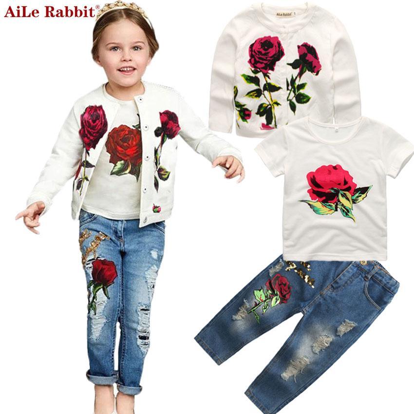Outono Mais Novo Meninas Roupas Terno Jaqueta camiseta Jeans 3 Pcs Set Moda Rose Cardigan Tops Lantejoulas Crianças Casaco