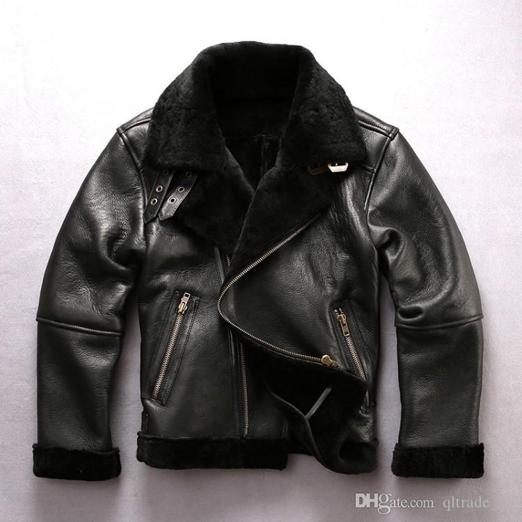 двухлобный меха куртки avirexfly кожаные куртки ягненка меховой воротник мужчины мотоцикл кожаные куртки для продажи косой молнии