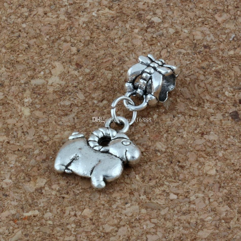 MIC 100pcs/lot Dangle Ancient silver sheep Charm Big Hole Beads Fit European Charm Bracelet Jewelry 12x27mm A-227a