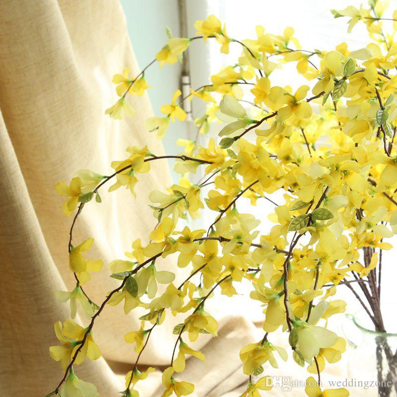 European Rural style Yellow silk Dancing Lady Orchid 104CM Artificial flowers Floor flower For Party Wedding/House decoration