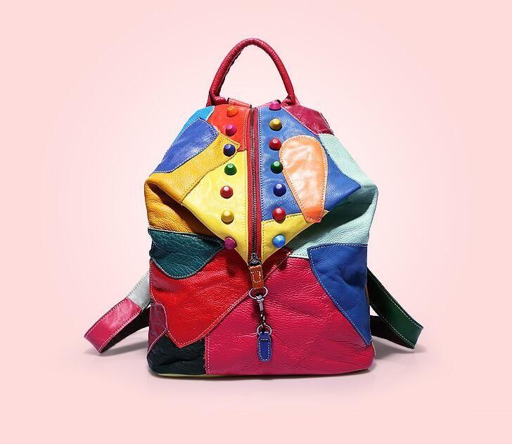 Nuovo arrivo in vera pelle colorato Rivat moda viaggio zaino donne casual borse da viaggio 4 colori disponibili signore pulsante stile europeo