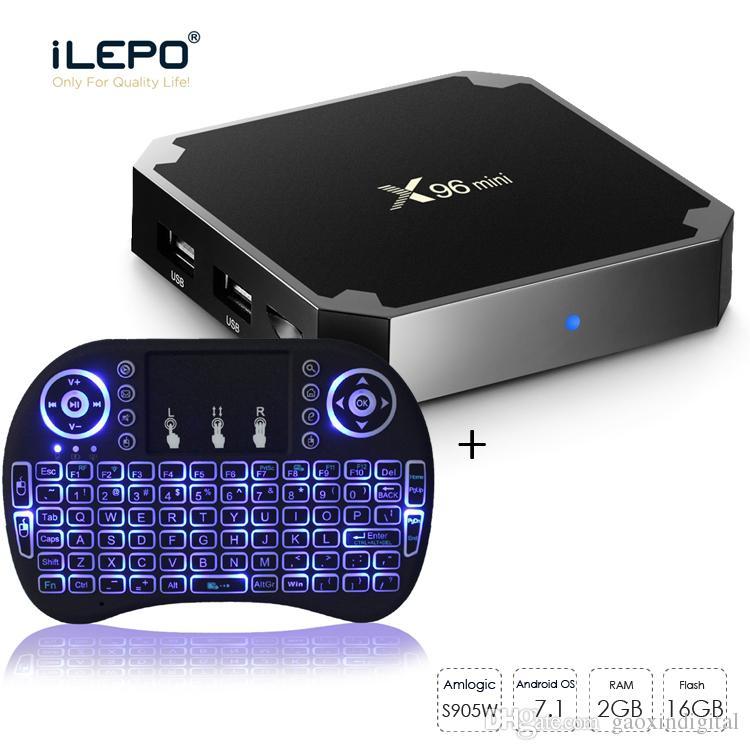 Amlogic s905W TV Box Streaming Boxes X96 mini Android 7.1 4K Smart tv box 2GB 16GB + mini RII I8 Wireless Keyboard