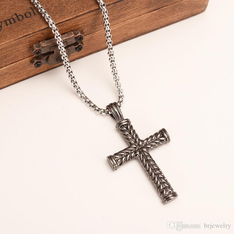 черный gunColor крест Ожерелье для женщин мужчин, Иисус распятие ювелирные изделия христианской католической кресты кулон