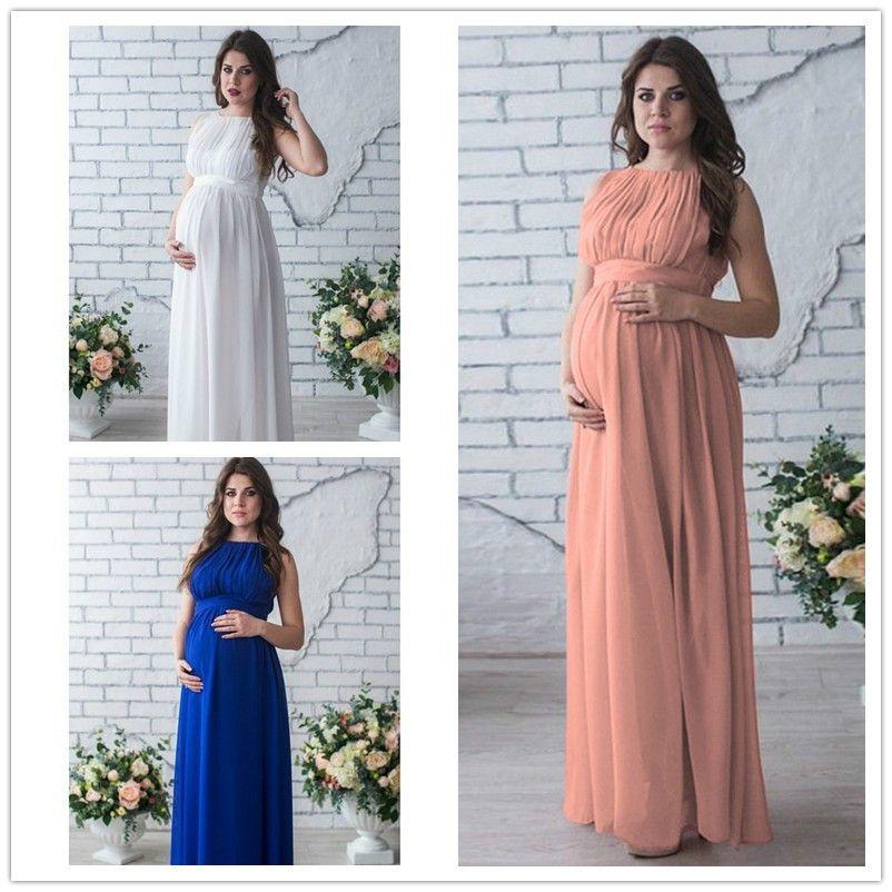 Compre 2018 Venta Caliente Vestido De Maternidad Apoyos De Fotografía Ropa De Embarazo Elegante Fiesta De Noche Vestido De Maternidad Ropa Para Fotos
