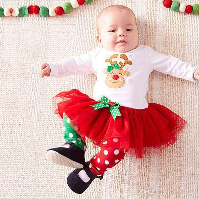 Baby Kids Girls Christmas Deer Long Sleeve Shirt Tops Tutu Dress Stripe Legging