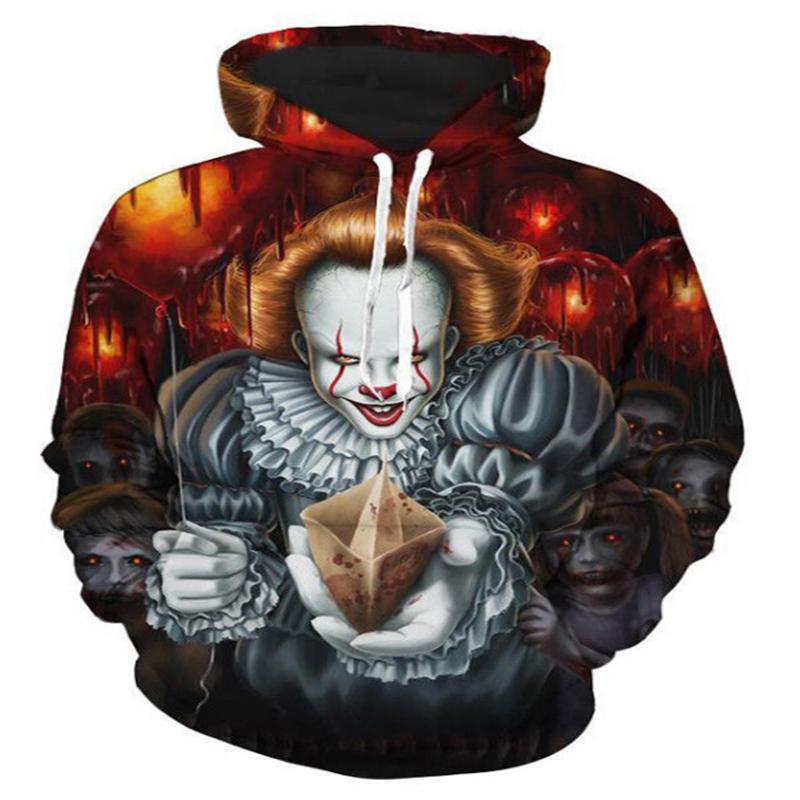 Casais Lizhiyang New Moda Unissex palhaço Stephen King 3D Imprimir Hoodies Hoody capuz Tops revestimento pullover coloridos