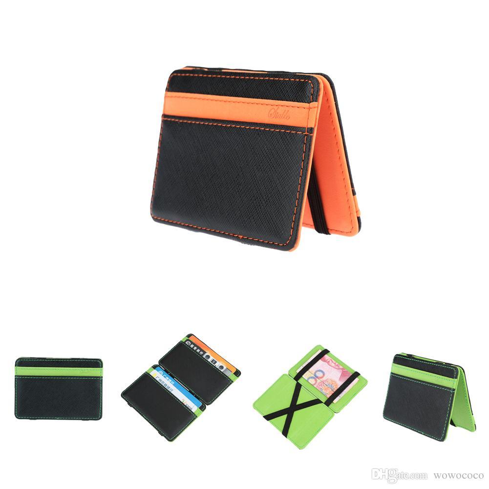 جديد الكورية أزياء الرجال ماجيك محافظ بو رخيصة محافظ ماجيك حقيبة الذكور حاملي بطاقة محفظة جيب المال كليب للرجال البرتقال الأخضر a316