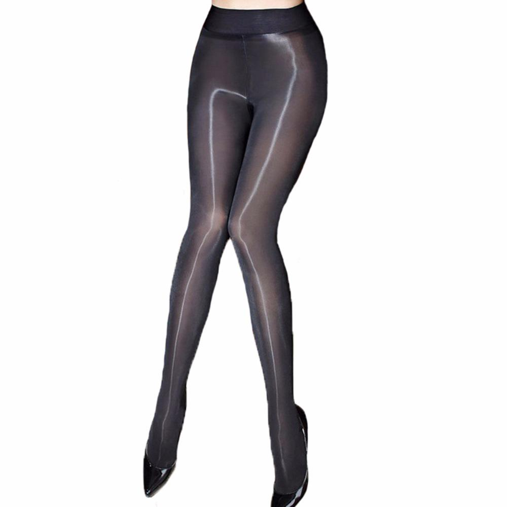 مثير النفط لامعة كلسات المرأة الجوارب شير نسيج بسلاسة الجوارب الفنتازيا نرى من خلال Strumpfhose Gloss Collant