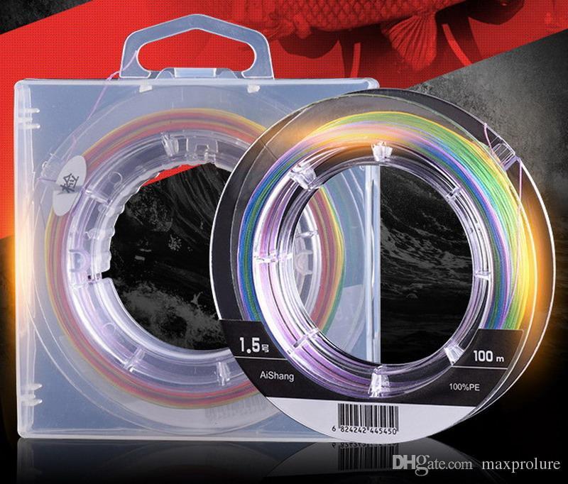 선 스펙트럼 8 가닥 100m PE 멀티 필라멘트 꼰 낚시 라인 5 색 하나의 색상 당 10 미터 물고기 와이어 로프 제직 낚시