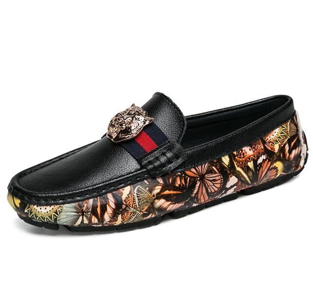 Station européenne nouvelle chaussures de haricots de tête de tigre printemps et en été nouvelles chaussures en cuir imprimées hommes tendance des chaussures de haute qualité gentleman G3.9.