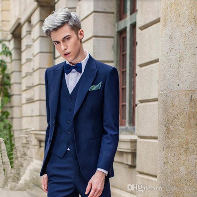 Beau bleu royal hommes costumes costume de mariage marié