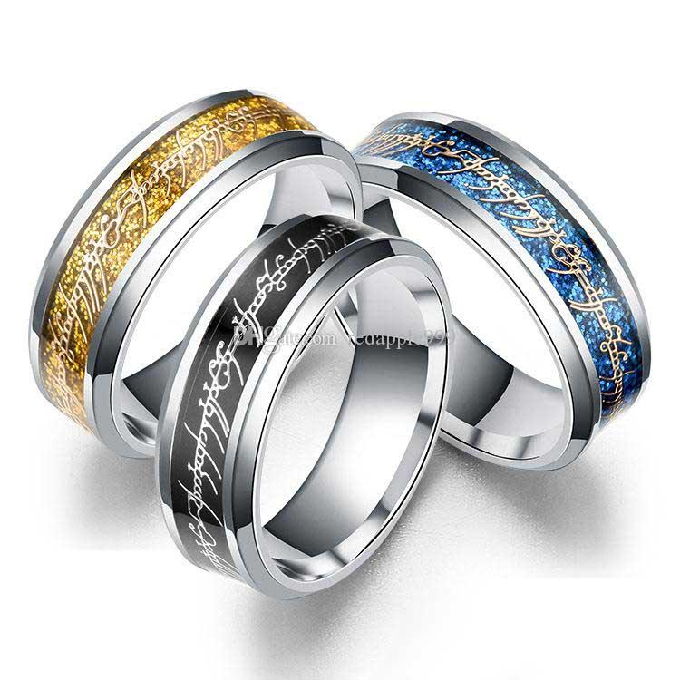 Властелин 8 мм кольцо серебро золото письмо палец кольцо кольцо кольцо Кольцо из нержавеющей стали кольцо храбрый Надежда вдохновляющие ювелирные изделия женщины мужчины