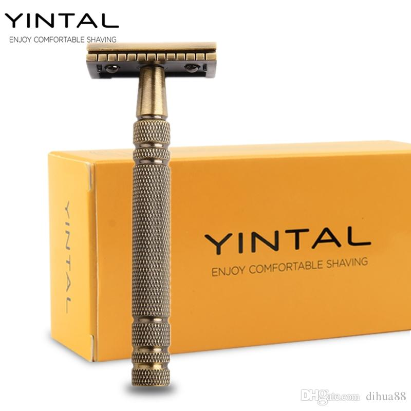 YINTAL Men's Bronze Classic Double-sided Manual Razor Long Handle Safety Razors Shaving 1 Razor Simple packing