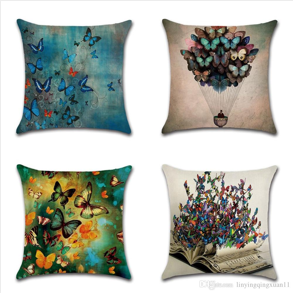Romántico hermosa funda de almohada mariposas de lino funda de cojín para sofá asientos sala de estar decoración para el hogar funda de almohada