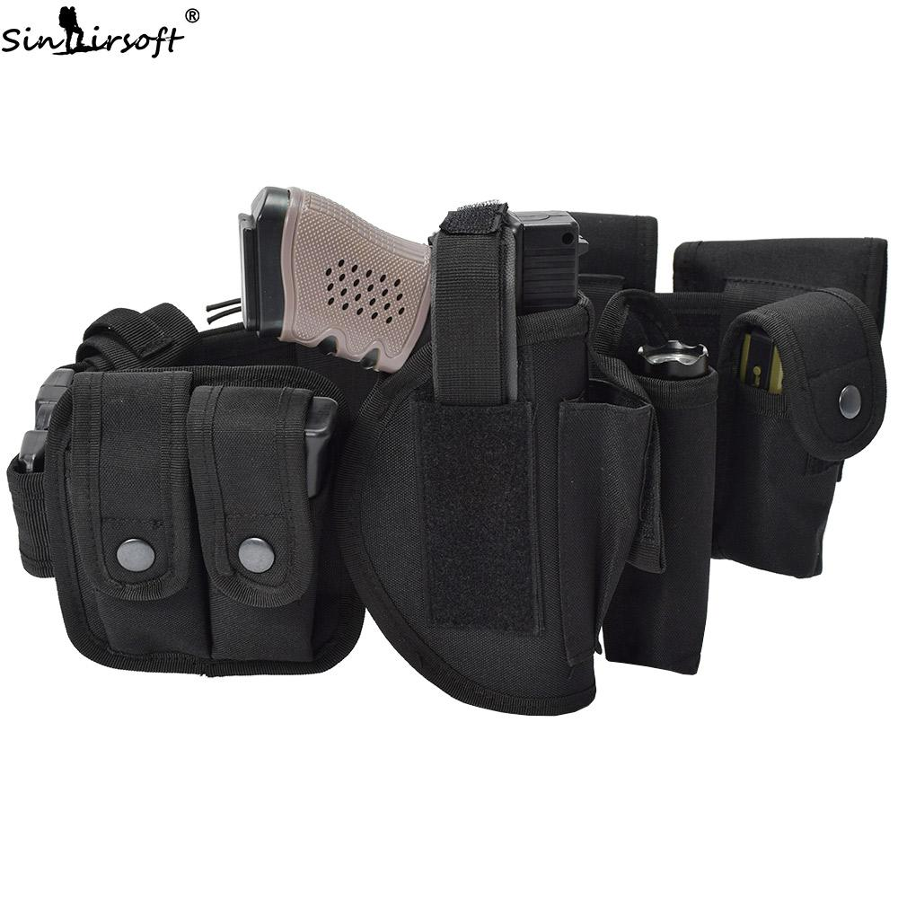 SINAIRSOFT Tactical Multifuncional Cinturón de Guardia Kit Traje Faja Cintura con 10 Mag Bolsa Funda de Seguridad Policía Guard Kit de Utilidad Nylon