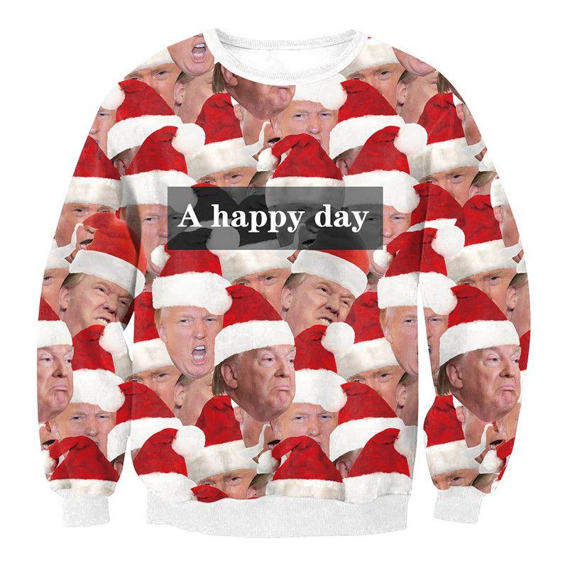 Christmas Trump Shirt.2019 Novelty Merry Christmas Donald Trump Print T Shirt Winter Carnival Xmas Women S Hoodies Autumn Unisex Funny Party Sweatshirts From Hilllin1989
