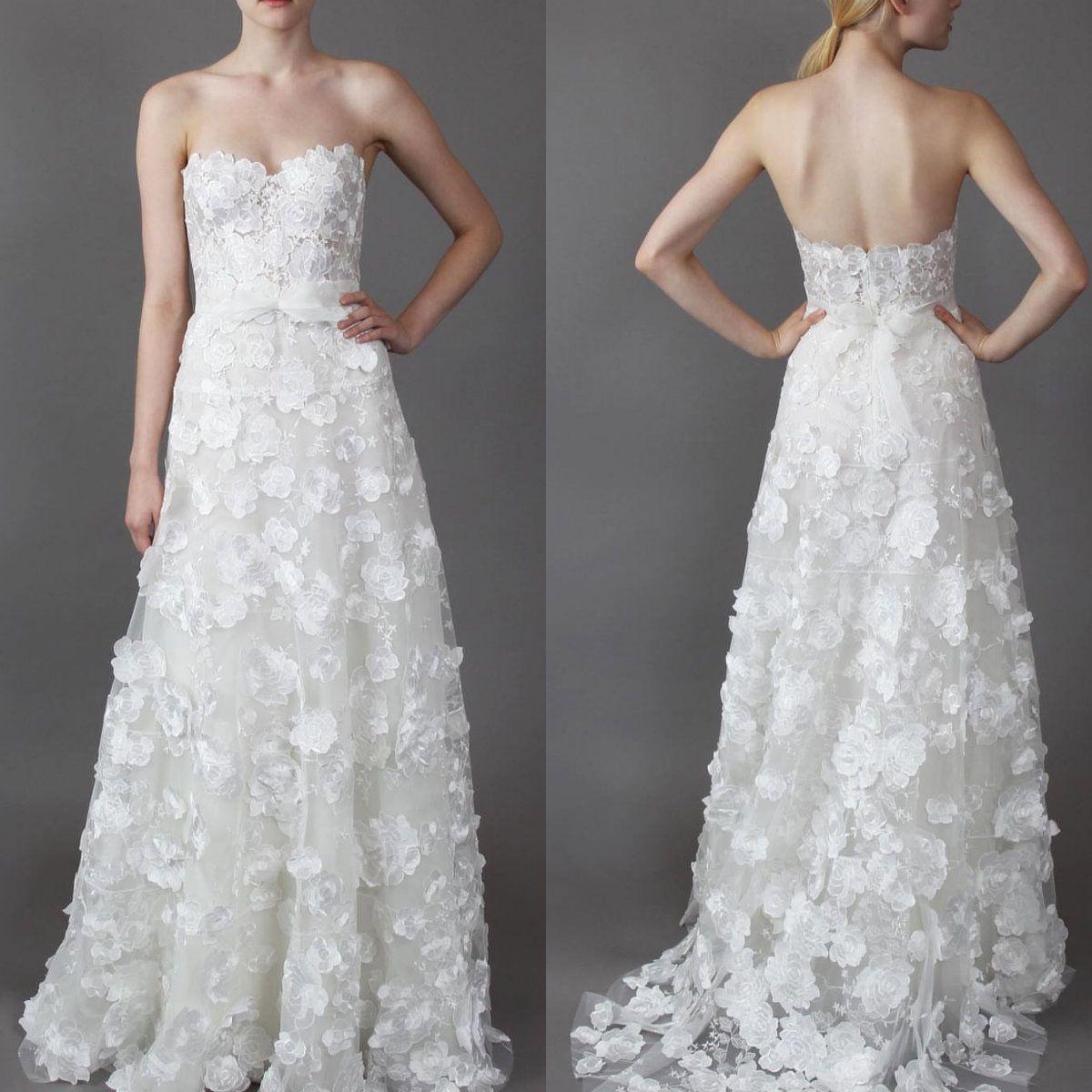 Mira Zwillinger 2018 vestido de novia Sweetheart Strapless 3D apliques florales cintura de cintura vestidos de novia Vestidos de boda del jardín