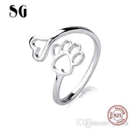SG аутентичные 100% стерлингового серебра 925 собака коготь сердце палец кольцо для женщин стерлингового серебра ювелирные изделия подарок бесплатная доставка