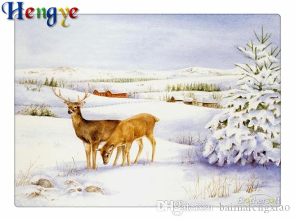Winter Snow /& Deer 5D Diamond Embroidery Painting Cross Stitch Home Decor
