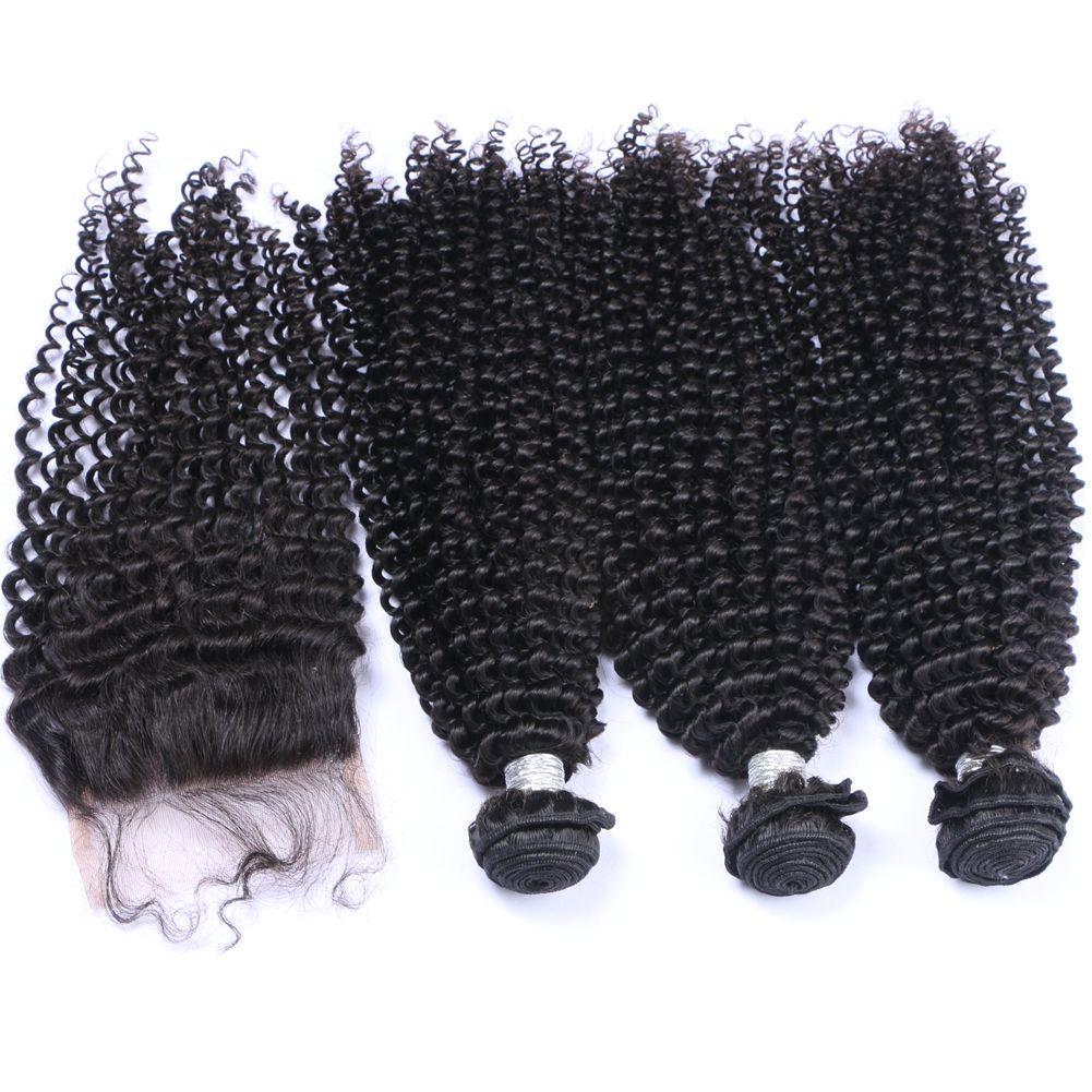Capelli crespi crespi crespi con chiusura superiore 4x4 afro crespi ricci non trasformati 100 capelli vergini 3 pacchi con chiusura 4 pezzi lotto