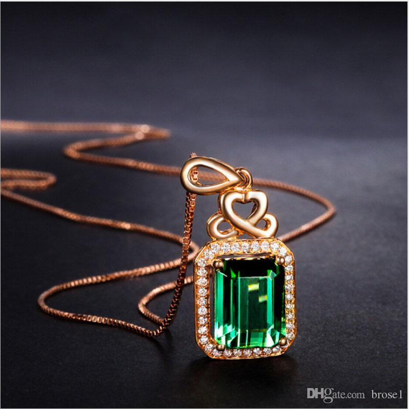 Emerald Pendant Silver-plated 18K Rose Gold Colored Gems Green Tourmaline Color Fashion Crystal Necklace Women's Accessories