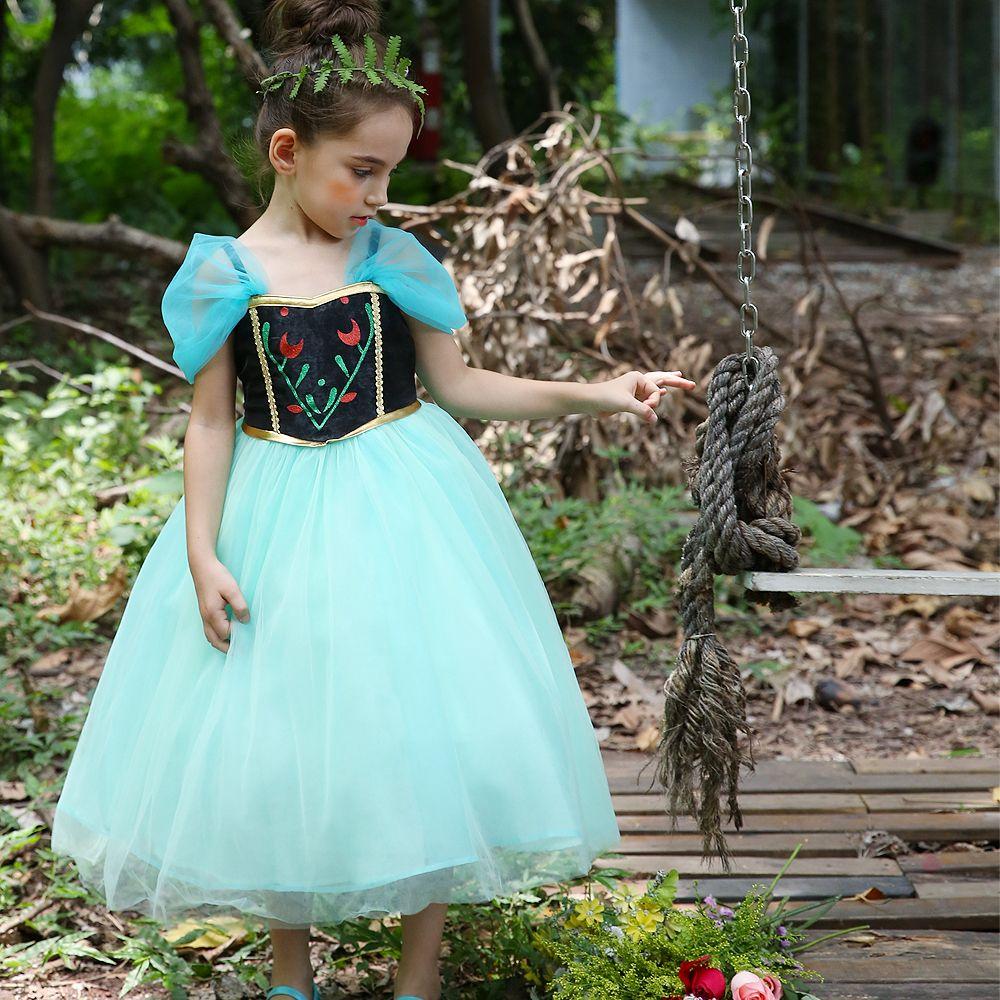 Llegada de nuevo vestido de Festival de Navidad princesa Ana vestidos de las niñas bebé verde vestido largo de Cosplay del traje para la fiesta de Halloween Vestido Infantis