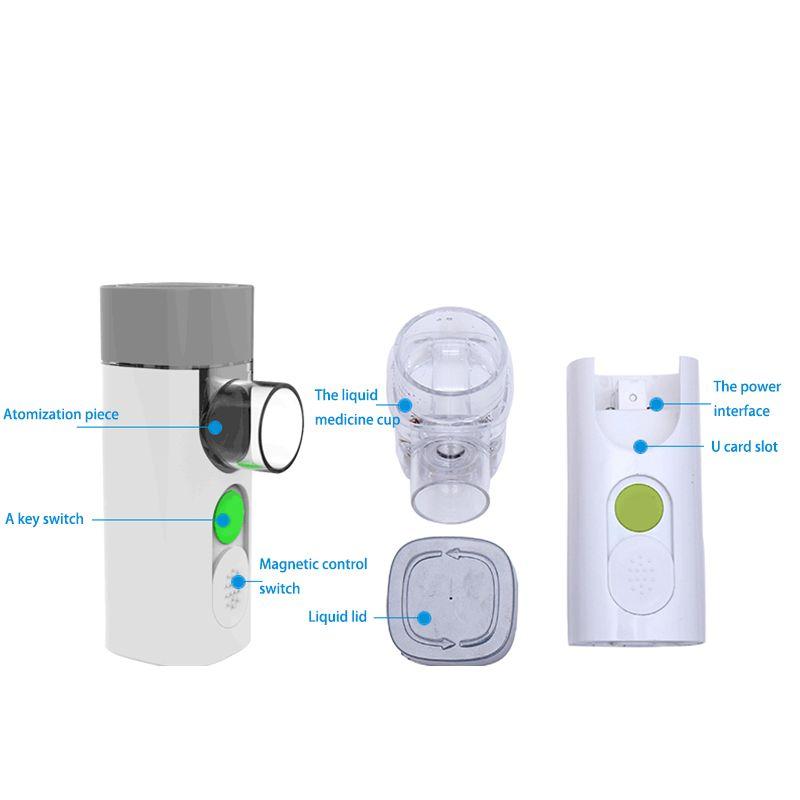 Nebulizador de malha ultra portátil Mini atomizador Nebulizador de micro malha de ar recarregável para criança adulto