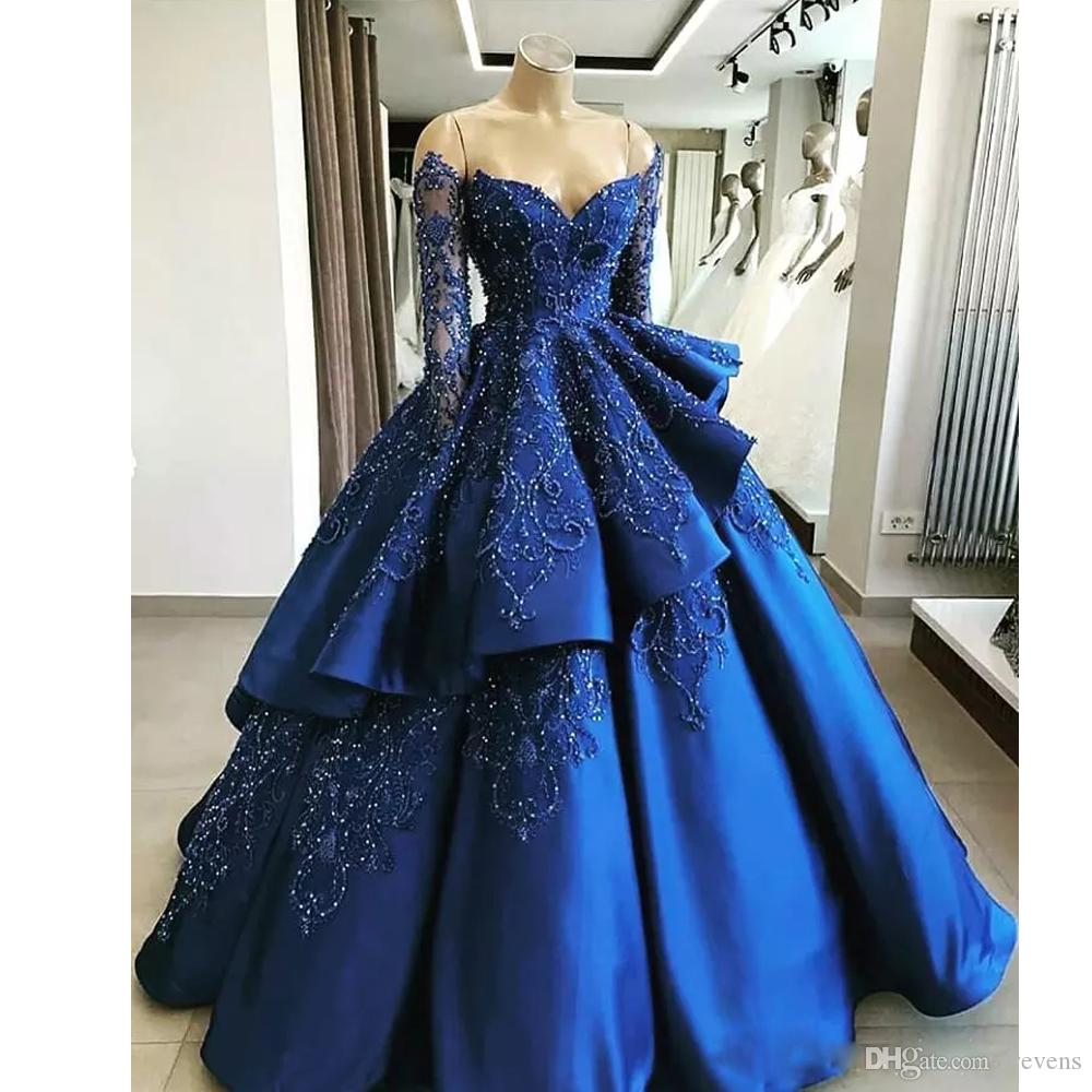 blue simple long gown