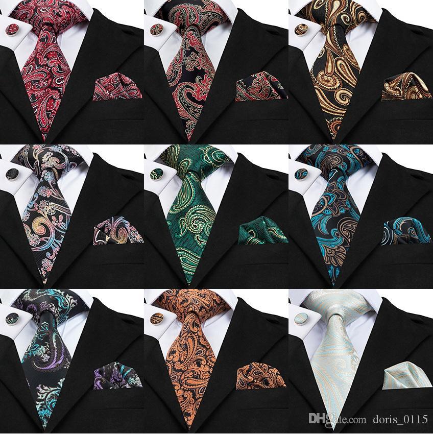 Conjunto de corbata de negocios de moda para hombre Corbata de seda floral hermoso Conjunto de corbata de longitud clásica de alta calidad