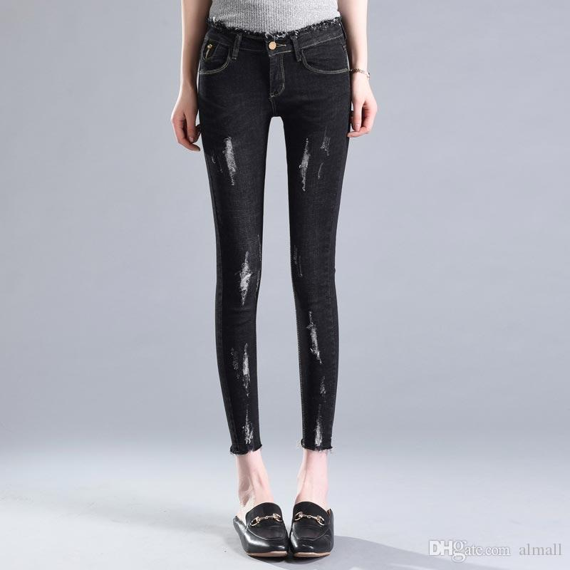 Pantaloni donna denim Pantaloni Jeans donna slim foro strappato Jeans stretch pantaloni skinny donna Jeans a vita bassa Femme