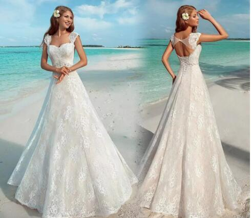 Summer Beach Wedding Dresses Vintage Full Lace Cap Sleeve Open Back ...