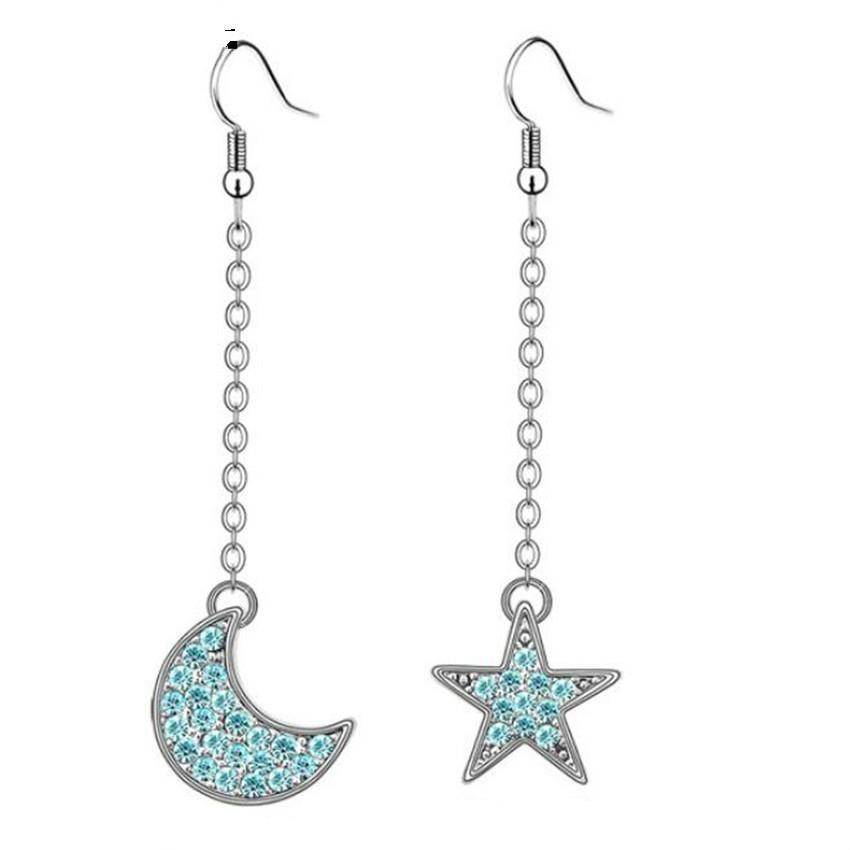 Estrella y Luna Pendientes Largos Pendientes Mujeres Moda Coreana Pendientes de Gota de Cristal Pendientes de Joyería de Fiesta Chapado en Oro Blanco 3144