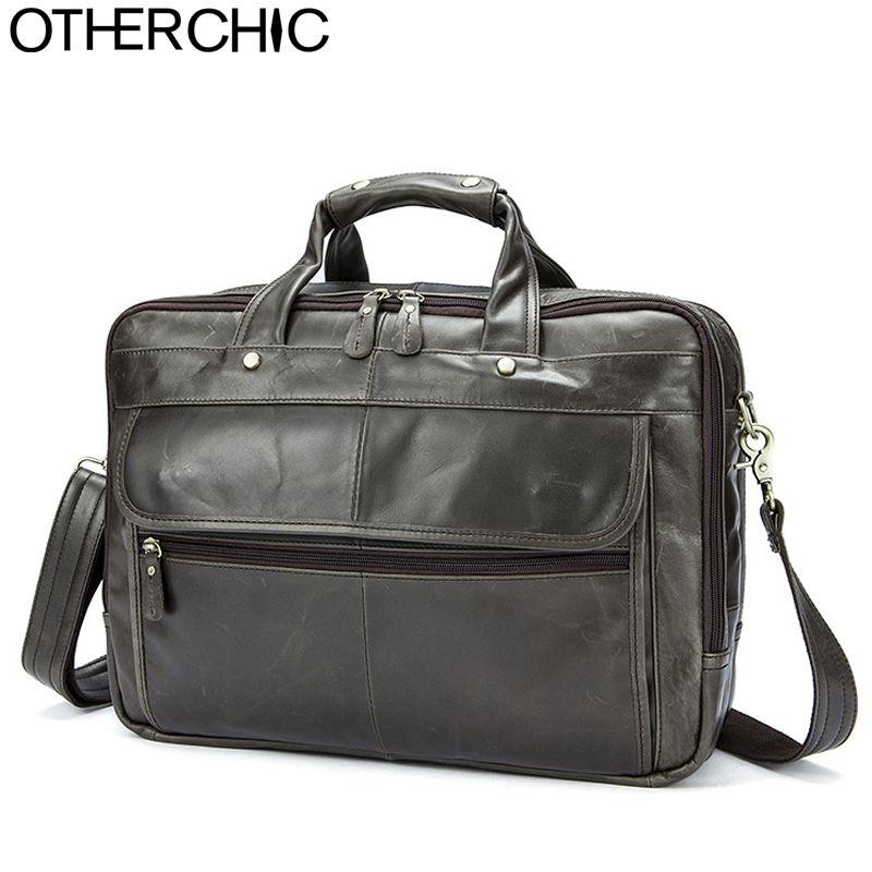 OTHERCHIC 3 Layers  Portfolios Briefcase Genuine Leather Business Bag Vintage Men Messenger Bags Lawyer Handbags 7N06-28