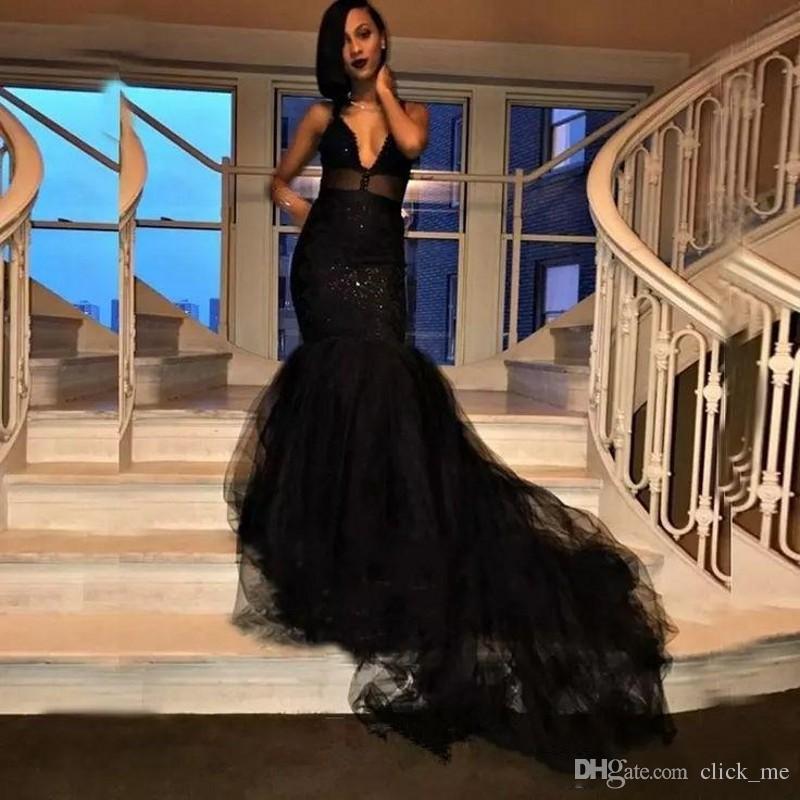Abiti da ballo sexy 2018 Scollo a V profondo con paillettes Tulle Sirena Cocktail Party Dress Conteggio Treno Tulle Abiti da sera africani senza maniche
