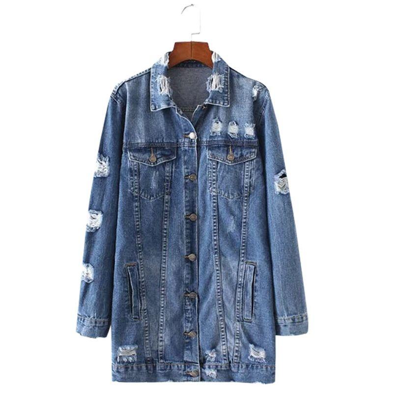 2018 Denim Jackets Women Hole Boyfriend Style Long Sleeve Vintage Jean Jacket Denim Loose Spring Autumn Coat Jean