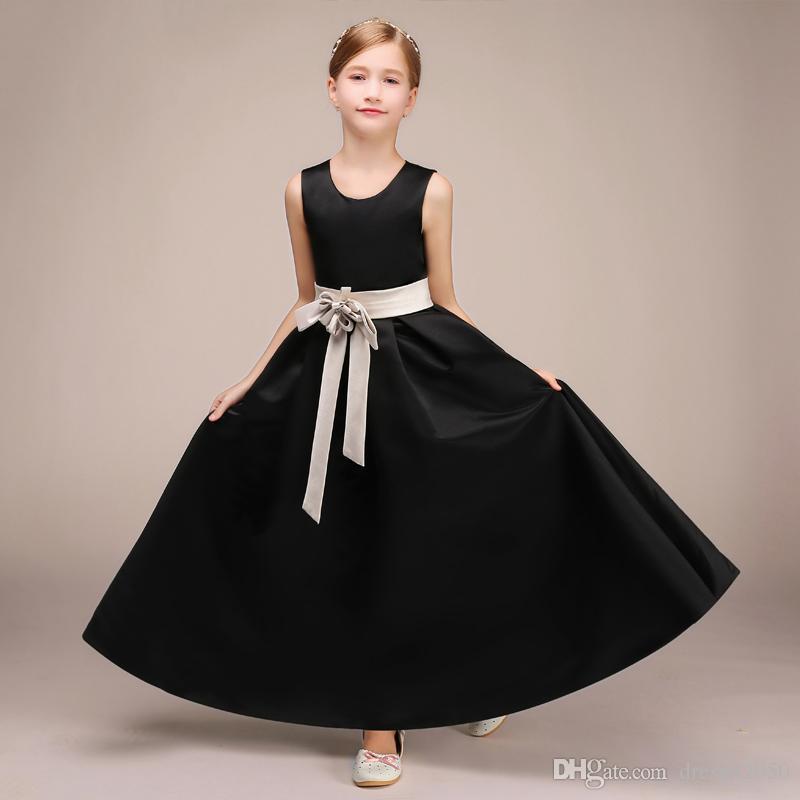 Beauty Black Satin Jewel Ankle Flower Girl Dresses Girls' Pageant Dresses Holidays Dresses Birthday Skirt Custom Size 2-14 DF624264