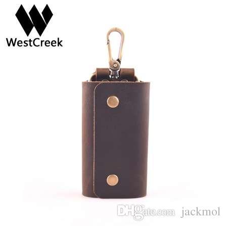 Westcreek Minimalista Couro Handmade carteiras chave Key Titular Caso retro bolsa com 6 Chaveiro