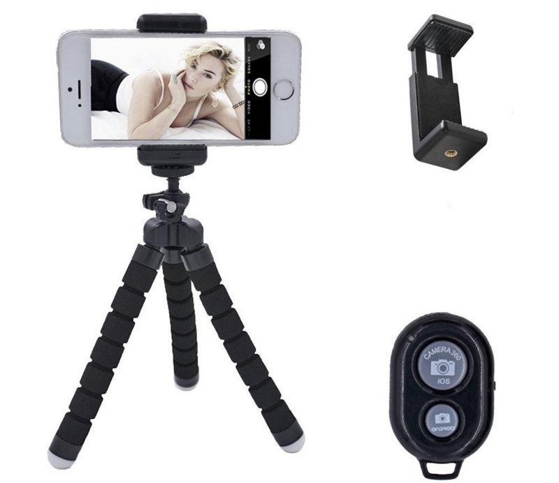 Flexible Sponge Tripod Holder For Cell Phone Car Selfie Camera Gopro Universal Mini Octopus Sponge Stand Bracket With Phone Mount Clip