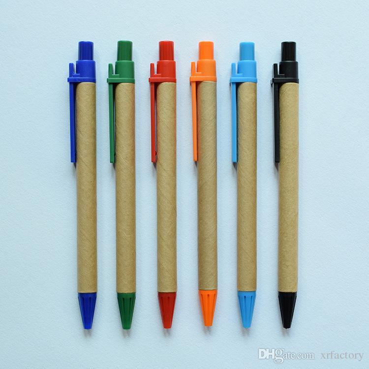 Kann druck LOGO e-friendly Kreative Minimalist Grün Kraftpapier Tube Gel Pen Unterschrift Stift Büro Schulbedarf
