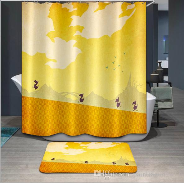 New 3D Shower Curtains Birds animal Series Pattern Waterproof Fabric Bathroom Curtains Washable Bathroom Products 12 Hooks floor mat sets