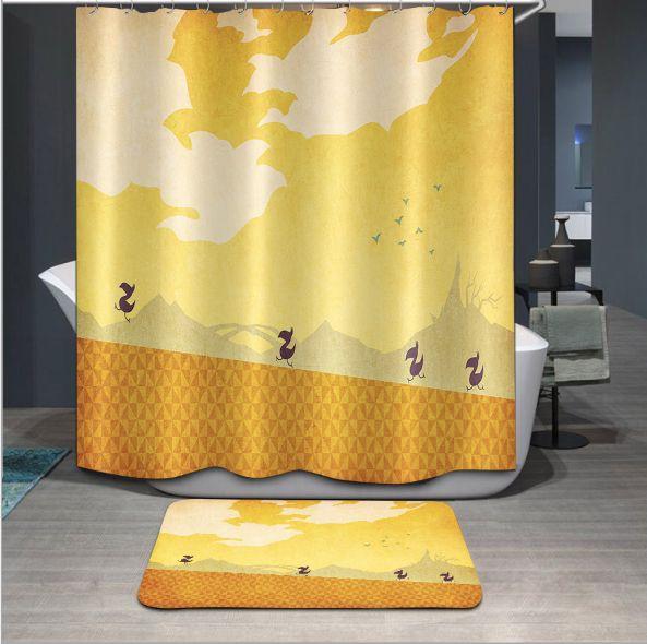 Nouveau 3D Rideaux De Douche Oiseaux Animaux Série Motif Étanche Tissu De Salle De Bains Rideaux Lavable Produits De Salle De Bains 12 Crochets tapis de sol ensembles