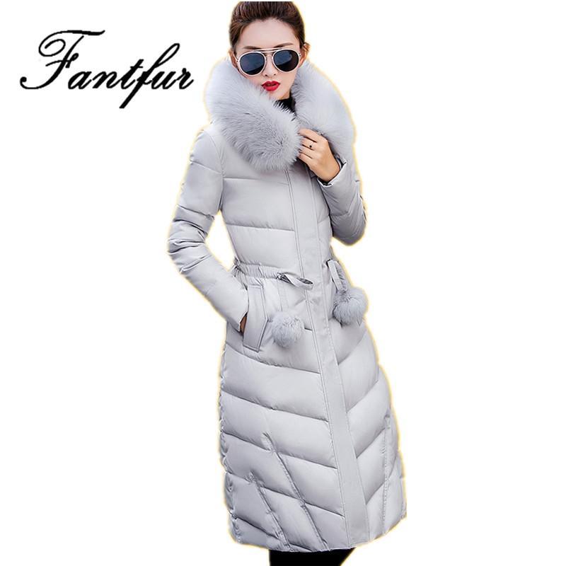 Großhandel 2017 Lange Winter Jacken Frauen Wintermäntel Pelzhaube Weibliche Unten Park Baumwolle Gepolsterte Parka Damen Mantel Dicke Outwear Von